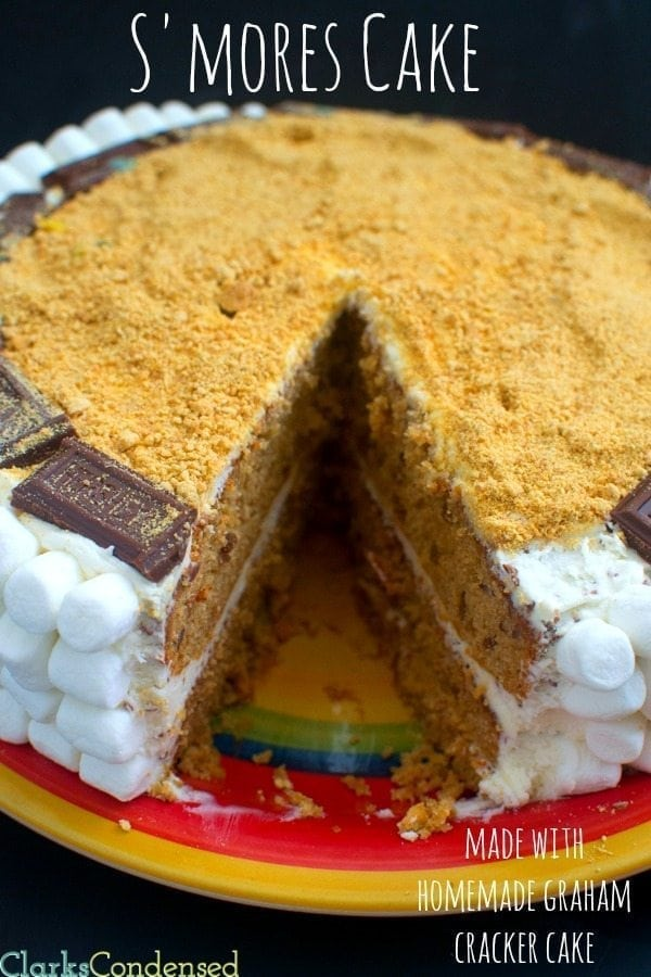 The best S'mores Cake -- made with a homemade graham cracker cake and buttercream marshmallow frosting