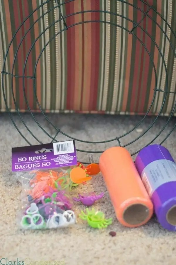 Materials for Halloween Tulle Wreath