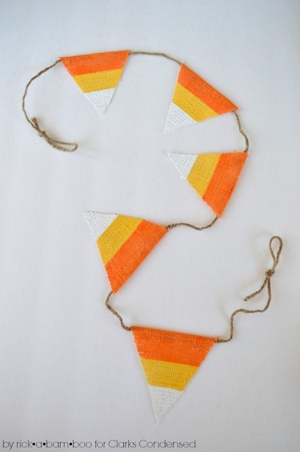 Candy Corn Burlap Garland Tutorial #halloween