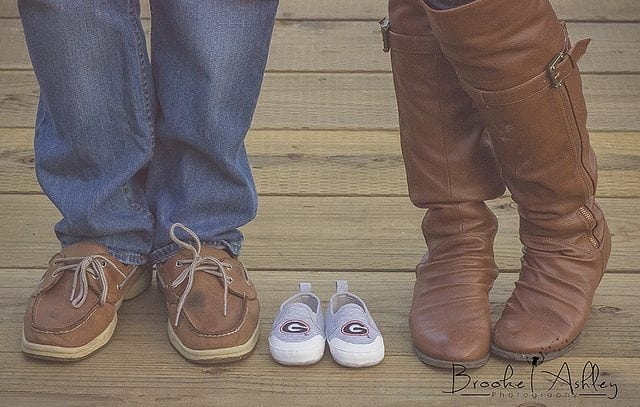 Pregnancy Announcement with Baby Shoes!