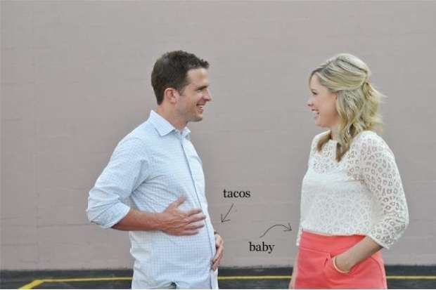 Pregnancy Announcement - Man guy Taco Belly vs Pregnant Baby Bump belly