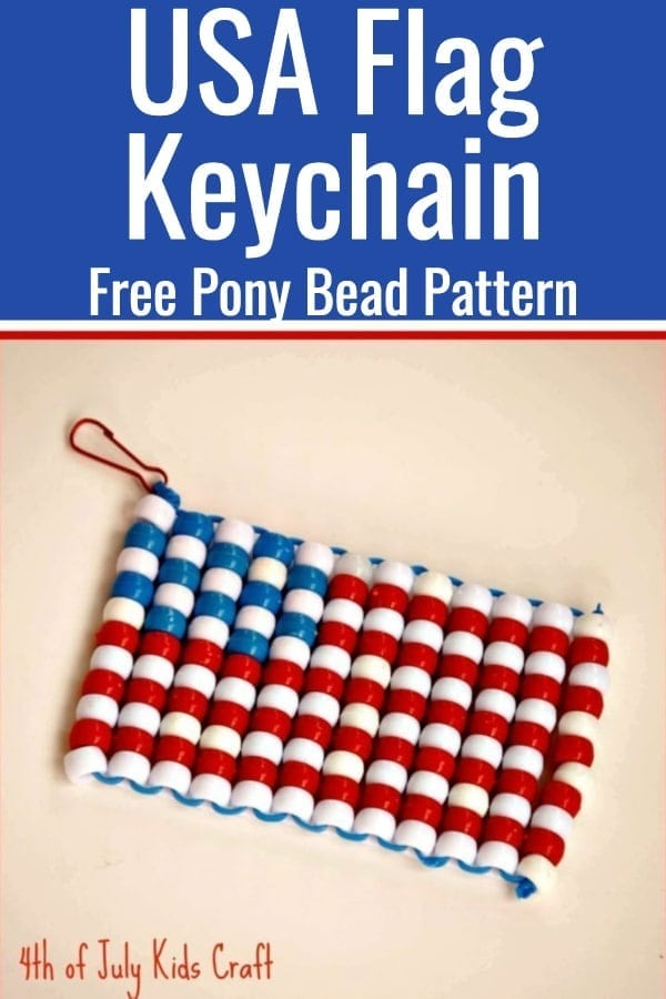 Patriotic Craft / Fourth of July Crafts / Pony Bead Pattern / Pony Bead Crafts / Kid Crafts #USA #IndependenceDay #KidsCrafts #Flag #ponybeads via @clarkscondensed
