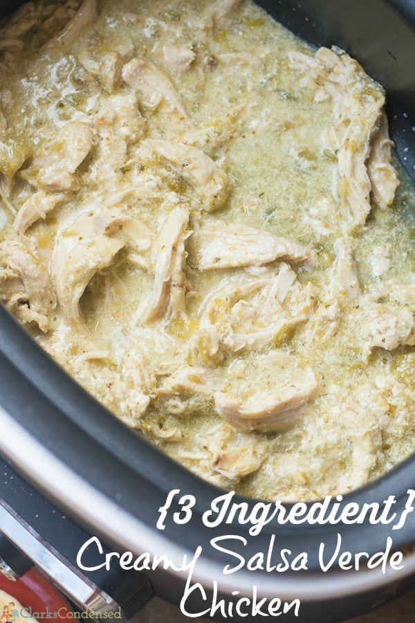 If you are looking for an easy dinner idea, it doesn't get simpler than this creamy chicken salsa verde! All you need is three ingredients and a slow cooker, and you'll have a delicious meal in a few hours.