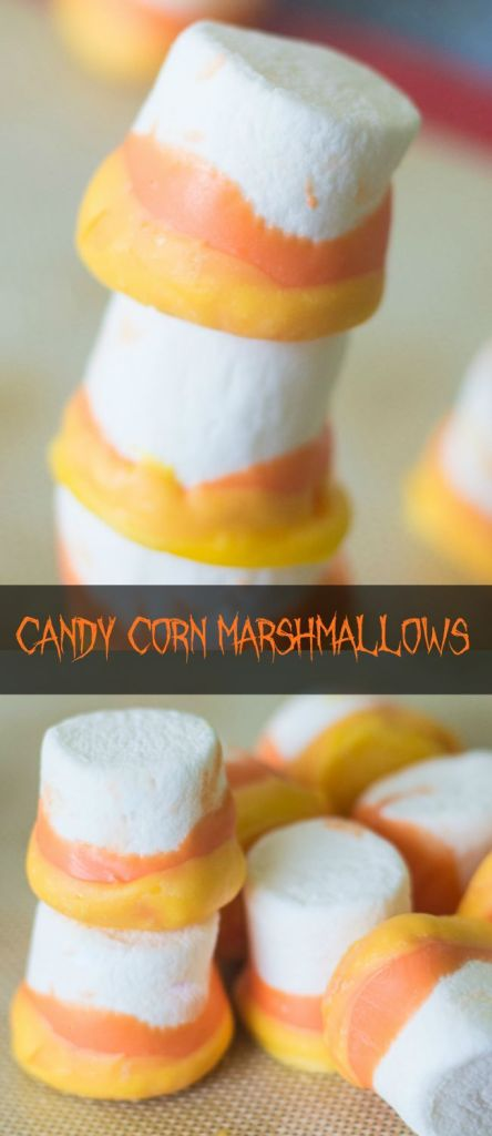 These candy corn marshmallows are a very simple Halloween treat (perfect for Halloween parties), and they are easy enough for kids to make!