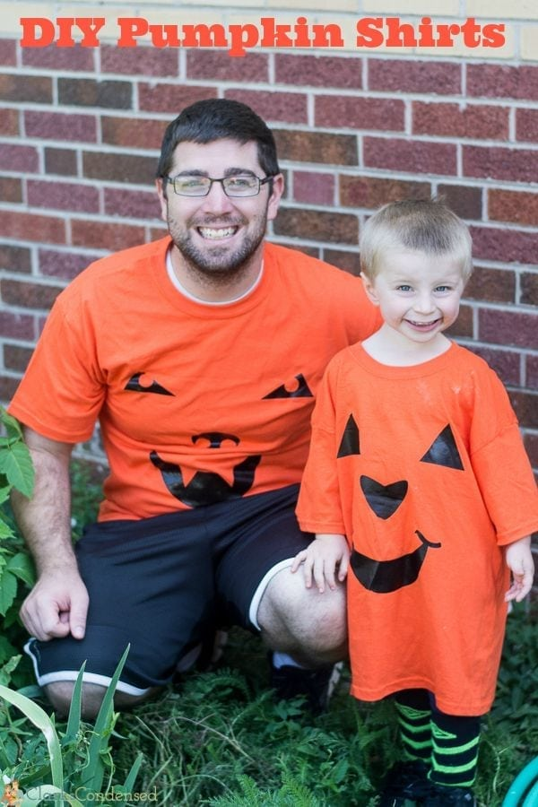 Dad and Son in Halloween T-shirts