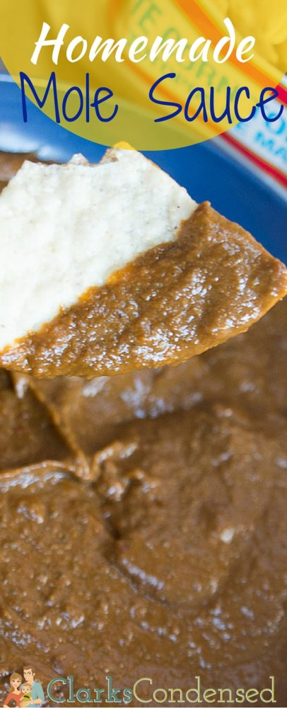 This homemade mole sauce has the perfect amount of sweetness and spice. Perfect for enchiladas, chips, and even hot dogs! via @clarkscondensed