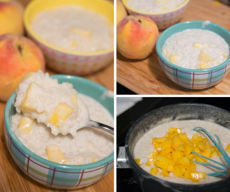 Peaches and Cream Rice Pudding