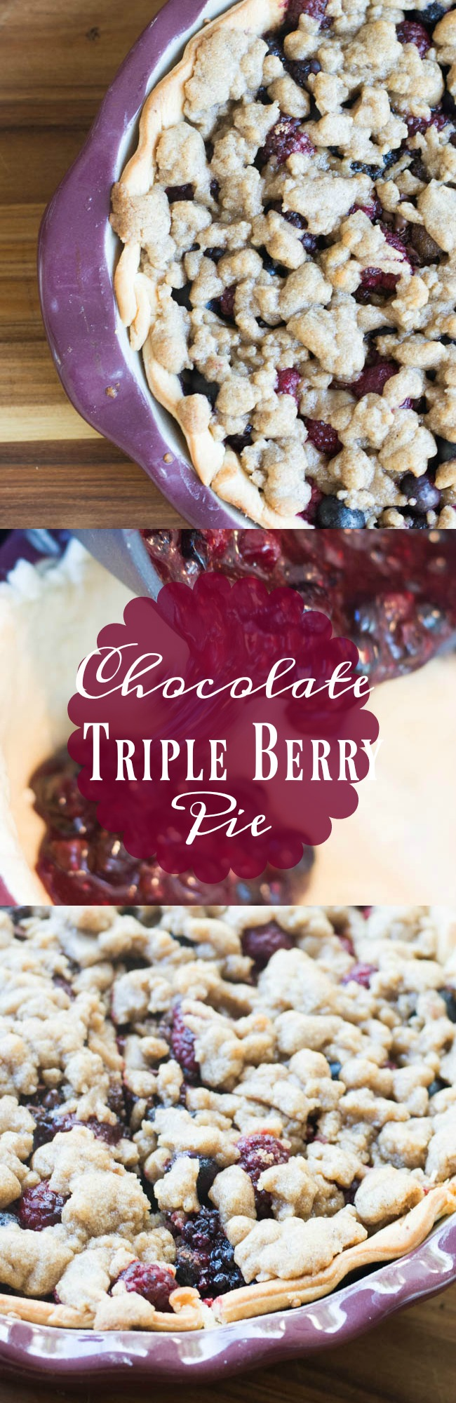 This chocolate triple berry pie recipe is full of AMAZING flavors that pair perfectly together. It's definitely the recipe that should be on your Thanksgiving table this year.  via @clarkscondensed