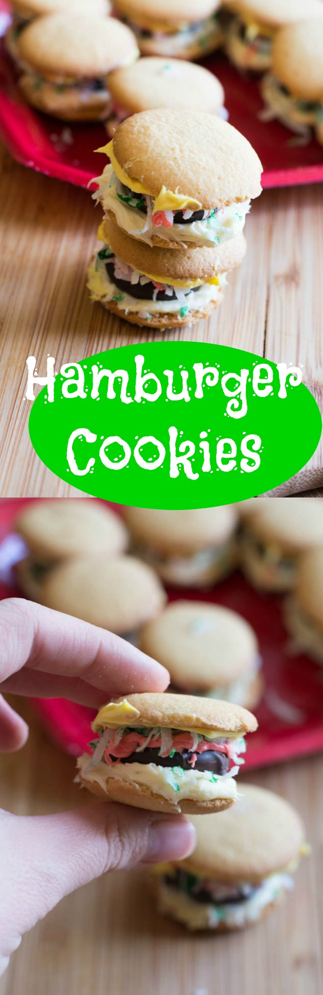 These easy hamburger cookies are SO Fun and perfect for holiday treat plates. They are easy for children to make, too.  via @clarkscondensed