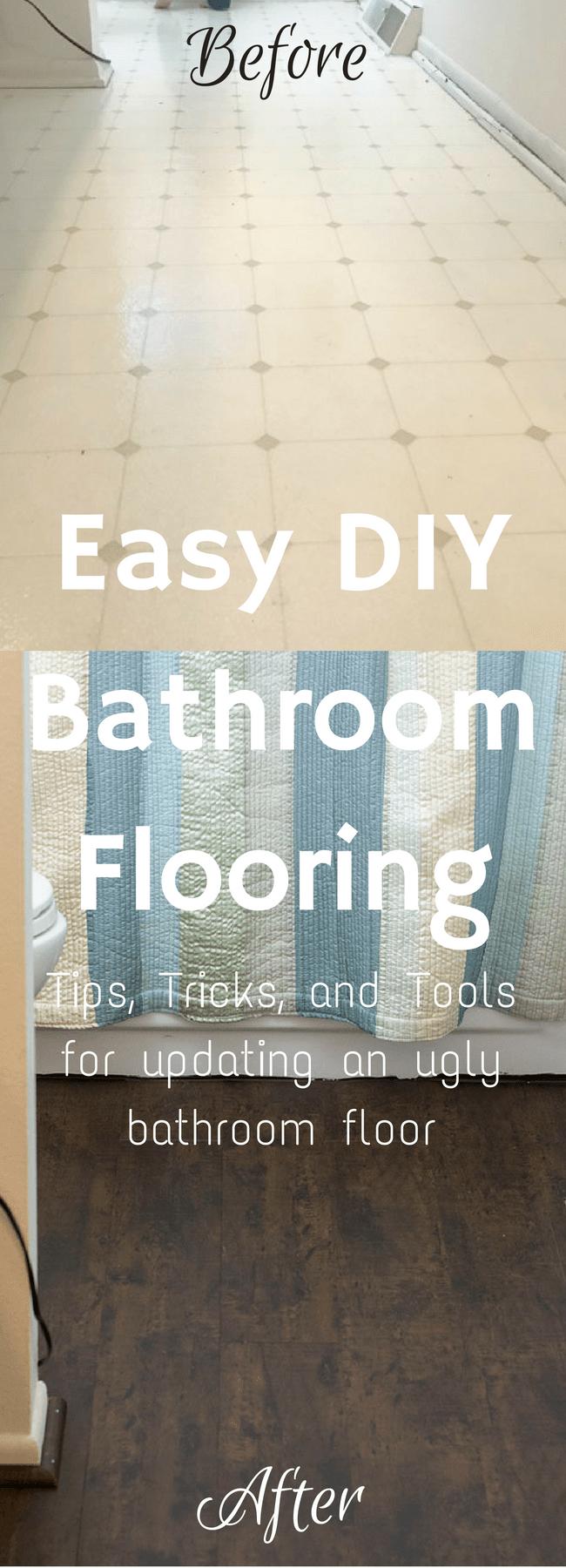 Bathroom Remodel / Bathroom Ideas / Bathroom on a Budget / Bathroom Makeover / Flooring Ideas / Floor DIY / Floor Ideas / Cheap Floor