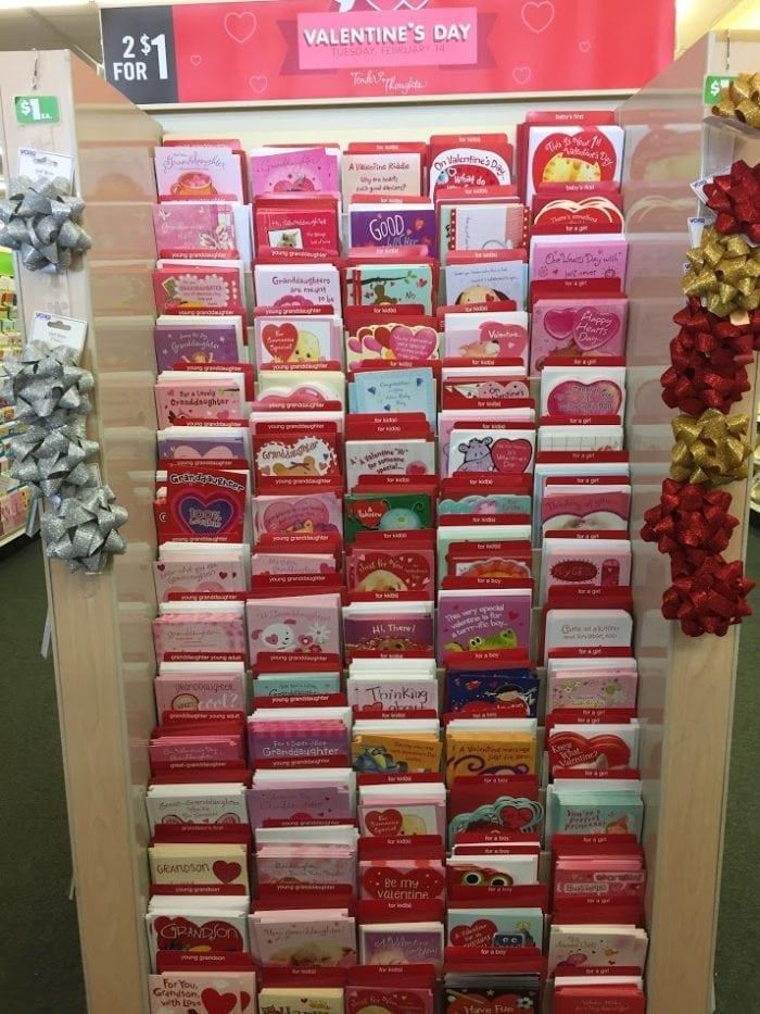 Valentines Cards on Display