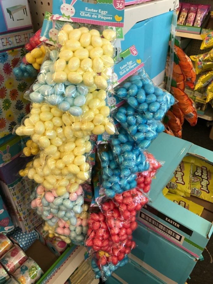 Colored decoration balls on display in Dollar Tree and Basket