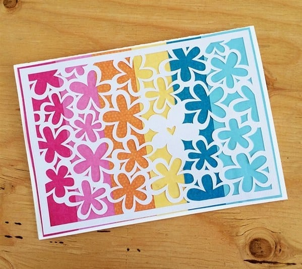 floral card with rainbow background