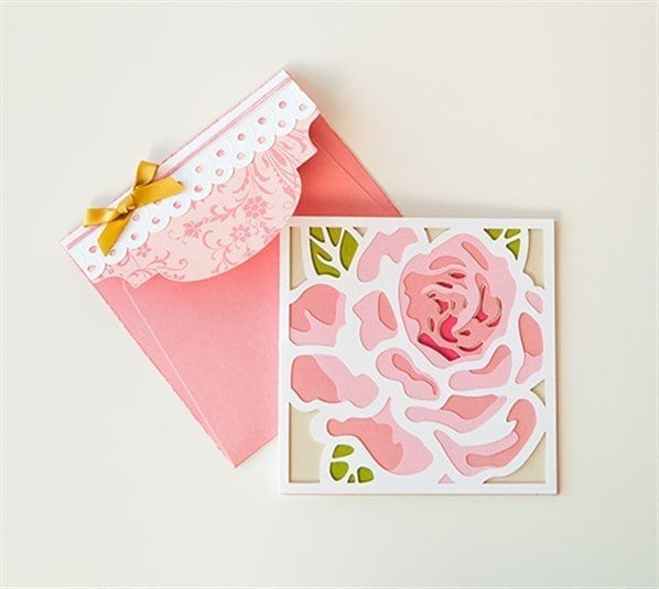 pink flower card and envelope