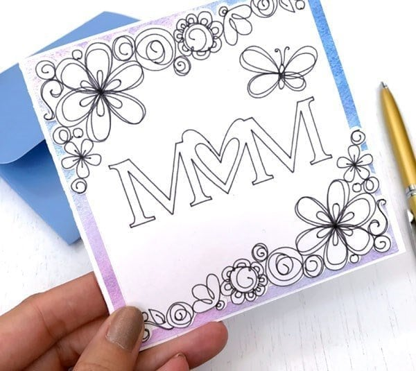 Coloring Page Mother's Day Card