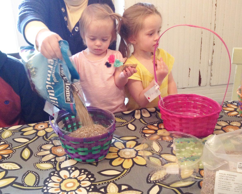 Children creating DIY Easter Baskets