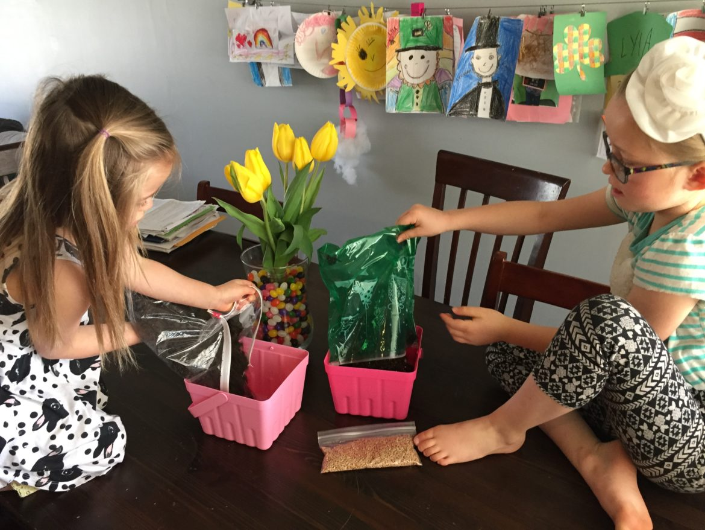 Children creating DIY Easter Grass for Baskets