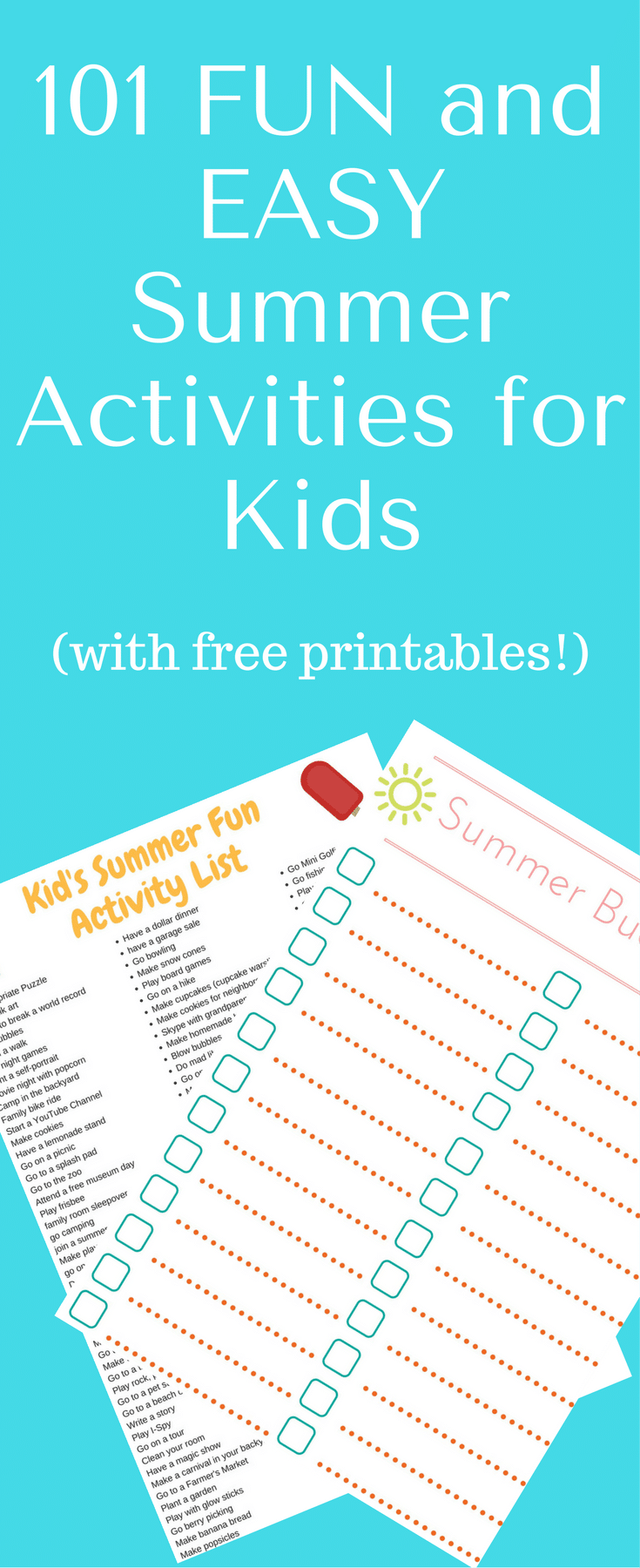 101 Easy Summer Activities for Kids / Summer Bucketlist / Summer Printables / Activities for Kids / Kid Activities / Summer Ideas