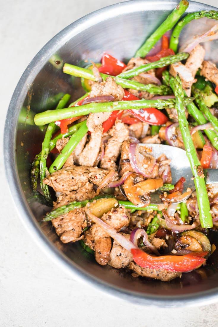 Easy Low Carb Pork Tenderloin Stir Fry with Veggies