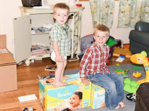 two little boys with diapers