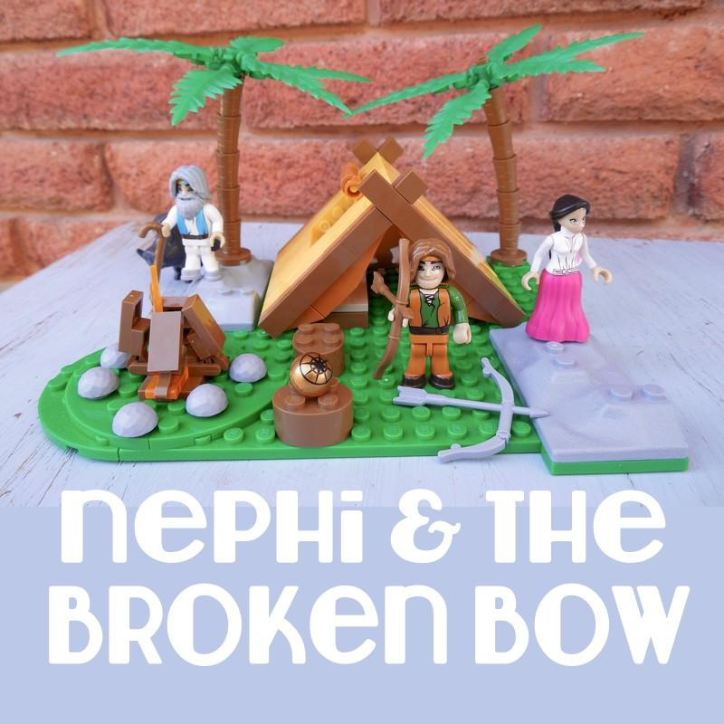 A closeup of a nephi and the broken bow sign