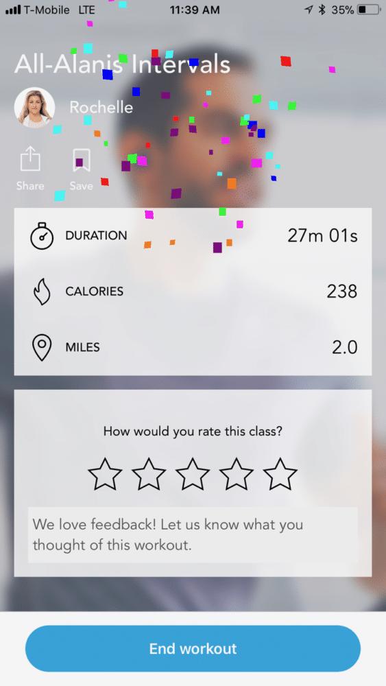 Finish aaptiv workout