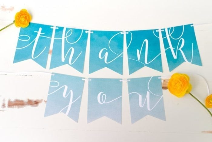 A close up of a thank you decoration
