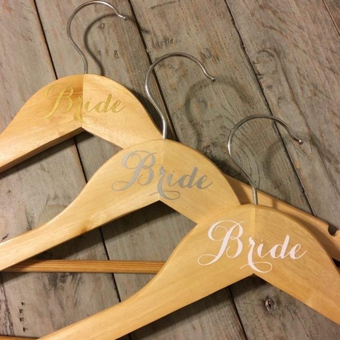 Wooden hangers named Bride
