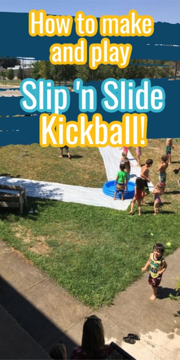 Slip 'n slide kickball / diy outdoor games / kickball / water games via @clarkscondensed