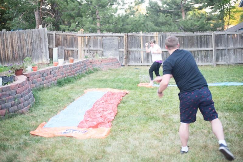 Slip n Slide Kickball in Action