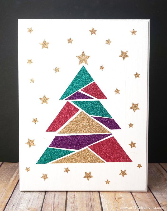 modern christmas tree sign