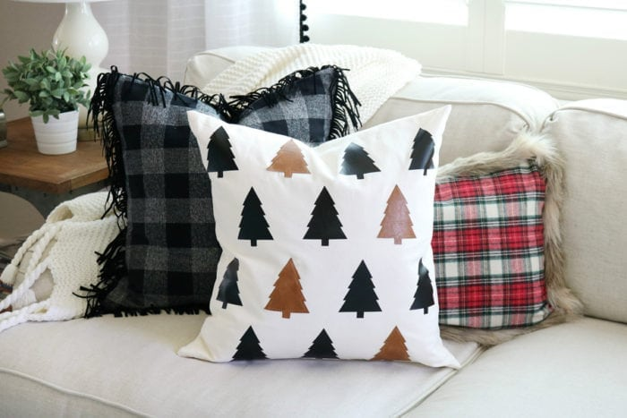 faux leather christmas tree pillow