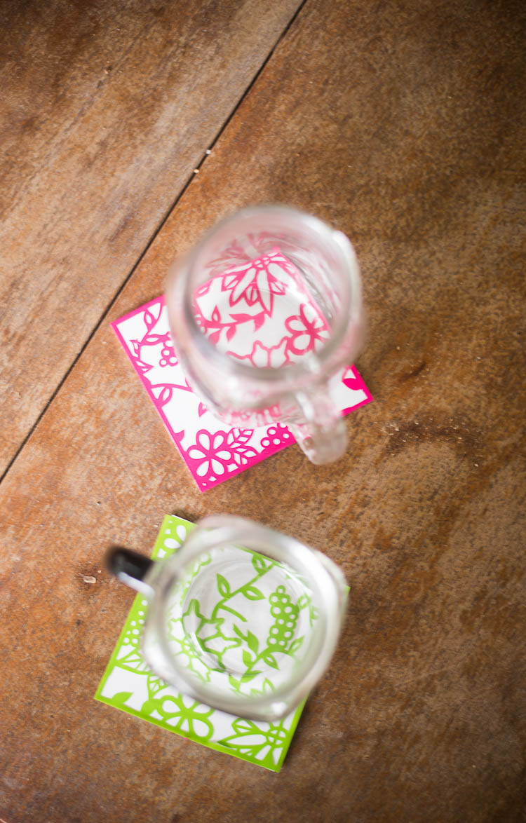 Pink and Green Outdoor Coasters made with Cricut Maker