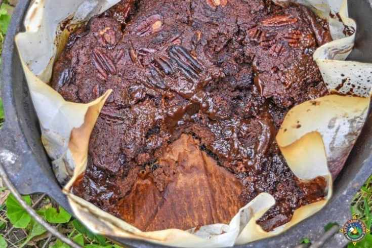 Dutch Oven Caramel Turtle Lava Cake Camping Recipe