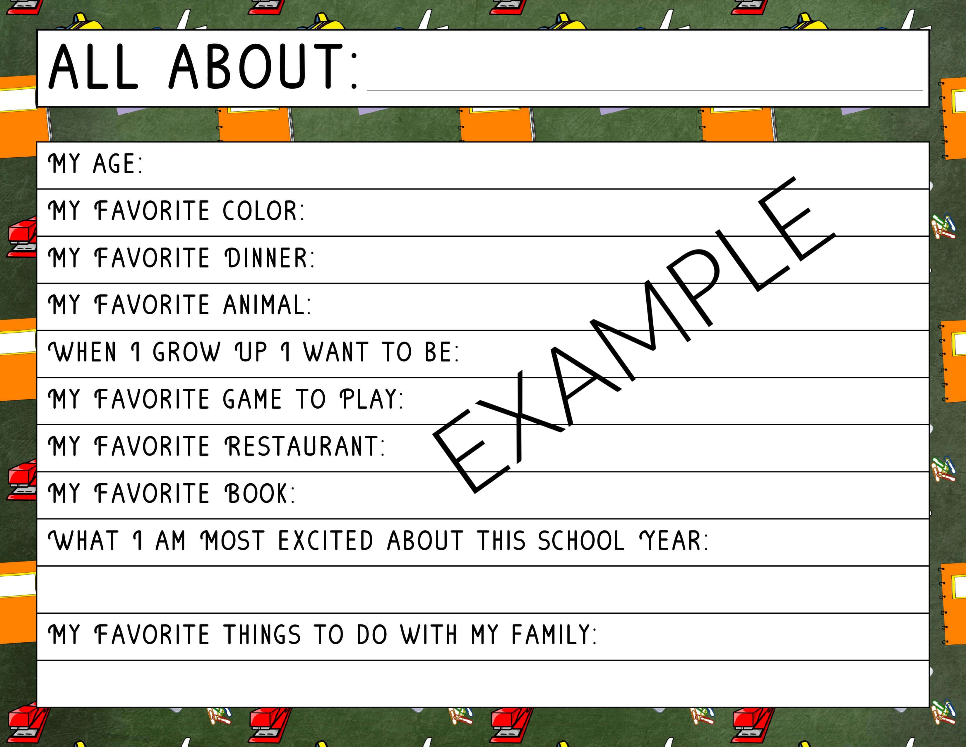 picture relating to First Day of School Interview Printable identify Again-toward-College or university All More than Me Job interview - Absolutely free Printable!