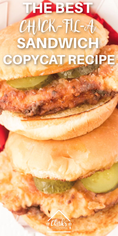 Chick-fil-a chicken sandwich / chick-fil-a copycat sandwich / copycat chick-fil-a / chicken / fried chicken #chickfila via @clarkscondensed