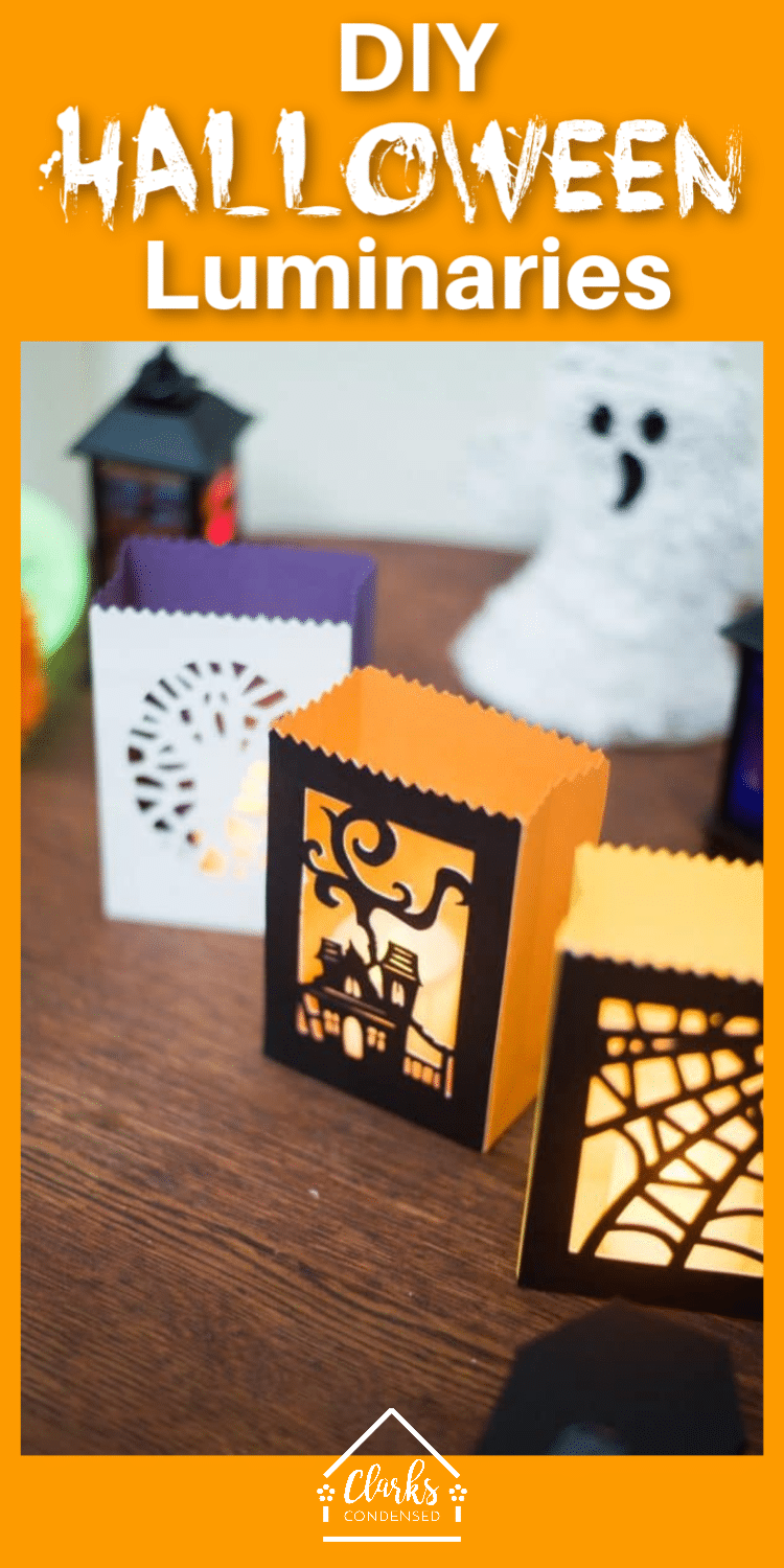 DIY Cricut Halloween Project / Halloween Luminaries / DIY Luminary / DIY Halloween Decorations #Halloween #Cricut #CricutMade #CricutProjects via @clarkscondensed