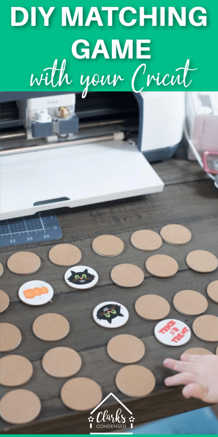 Make your own customized matching game with your Cricut Maker - free template included (as well as a design for the Halloween template!). #Cricut #CricutMade #CricutMaker #CricutGames  via @clarkscondensed