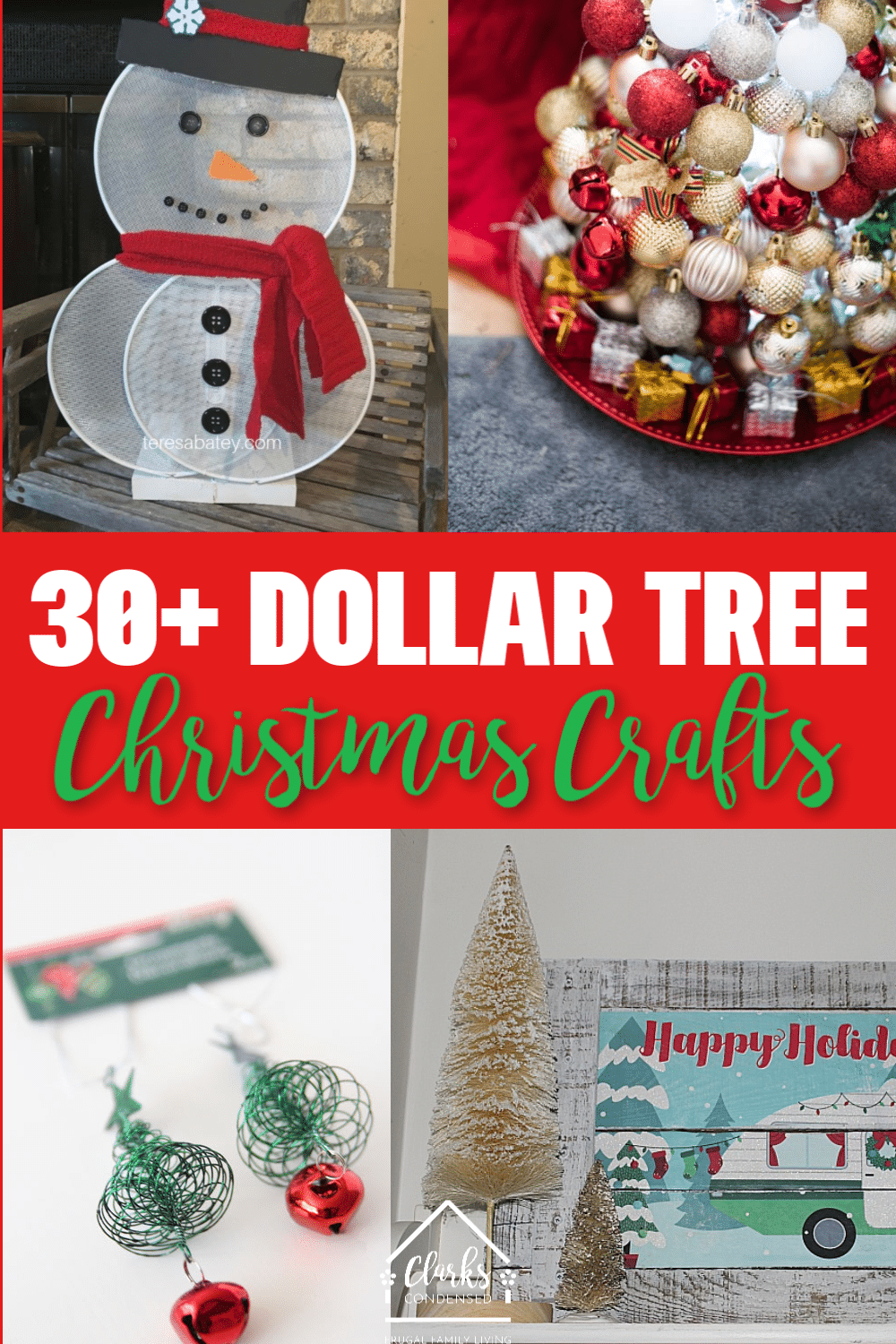 30+ Dollar Tree Christmas Crafts to make this holiday season! #dollartree #dollarstore #christmas #dollartreechristmas via @clarkscondensed