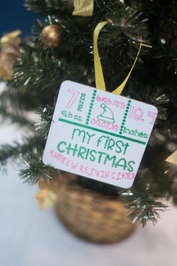 A card ornament from a tree
