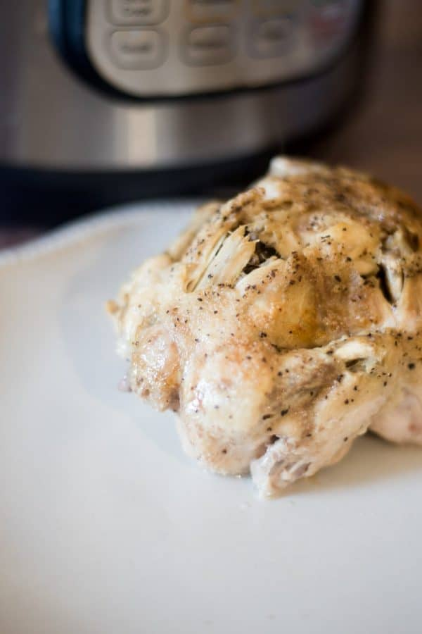 A close up of food on a plate, with Cornish game hen