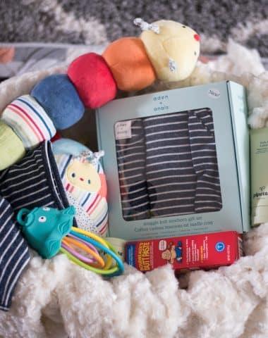 Kids stuffs in a basket