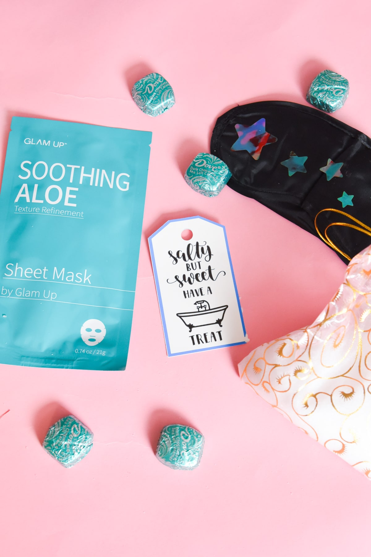 face mask, sleep mask, and candy