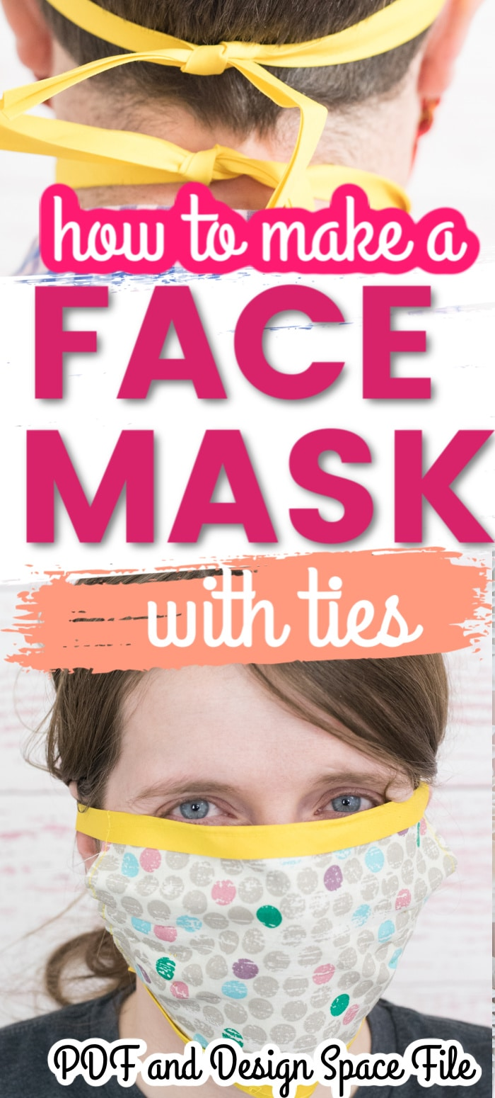 This is an easy-to-follow tutorial to make a face mask with ties using bias tape or ribbon. Free PDF and Cricut Design Space file included! via @clarkscondensed