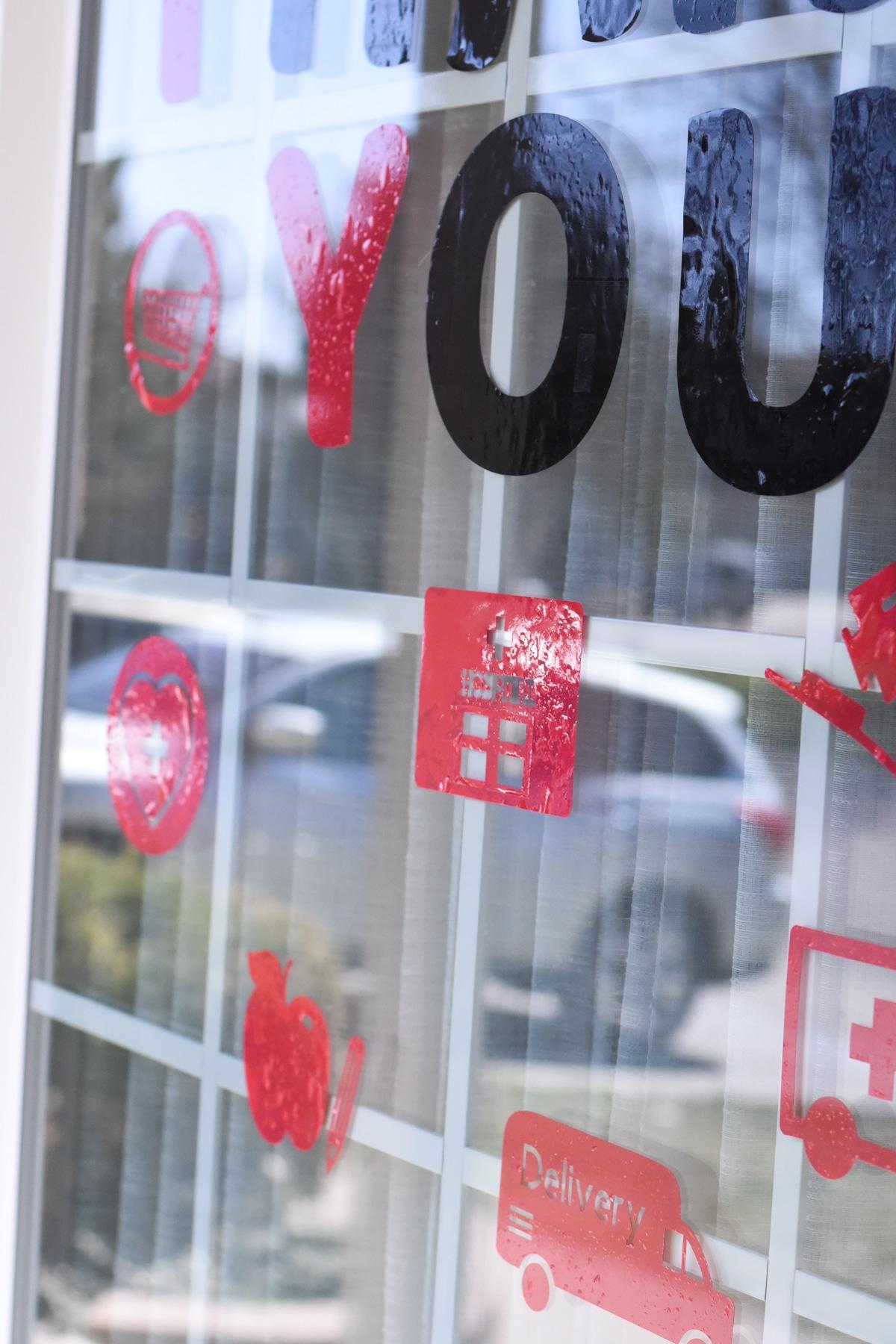window cling on a window