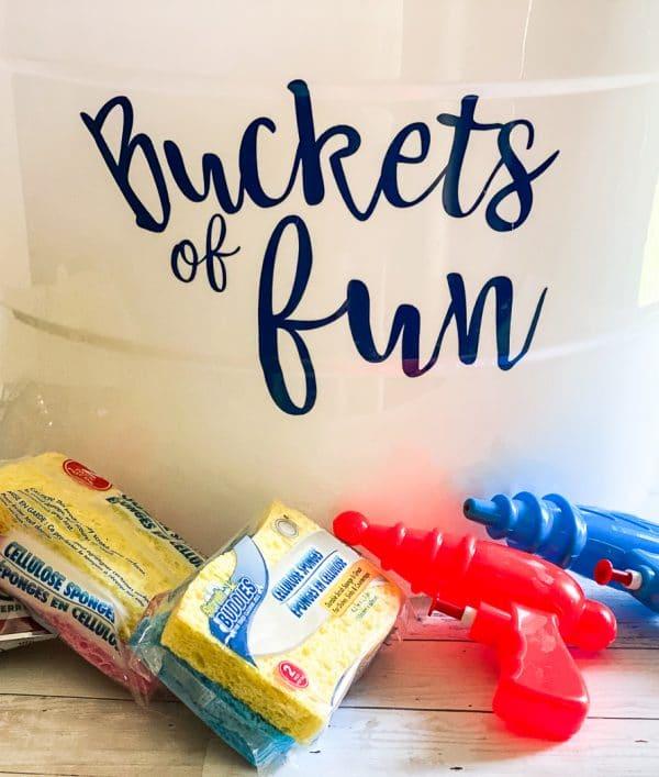 buckets of fun on bucket with water guns