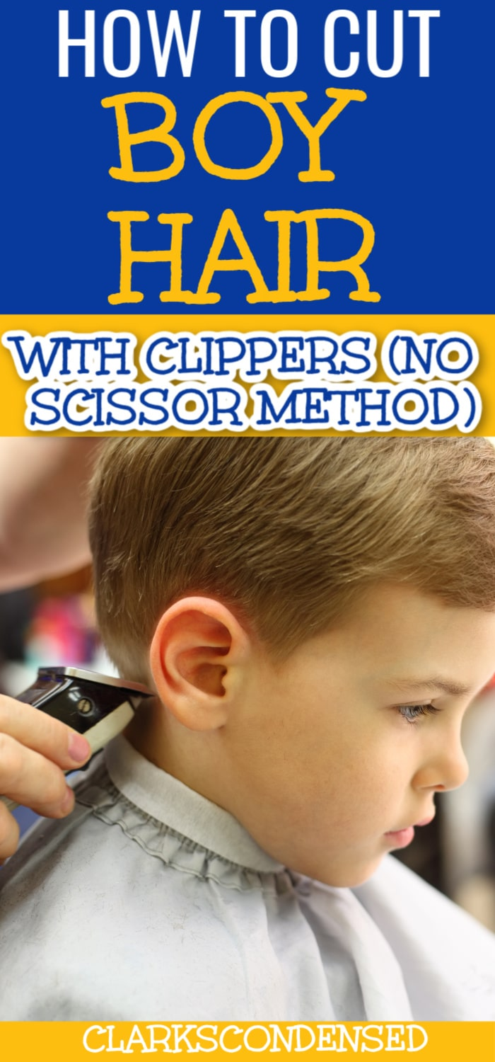 Here is a no-fuss hair cutting method for boy hair from a dad who is thinks taking them to the barber is a waste of money! Very clean cut hair cut for little boys. via @clarkscondensed