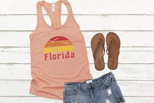 florida t-shirt next to shoes and shorts