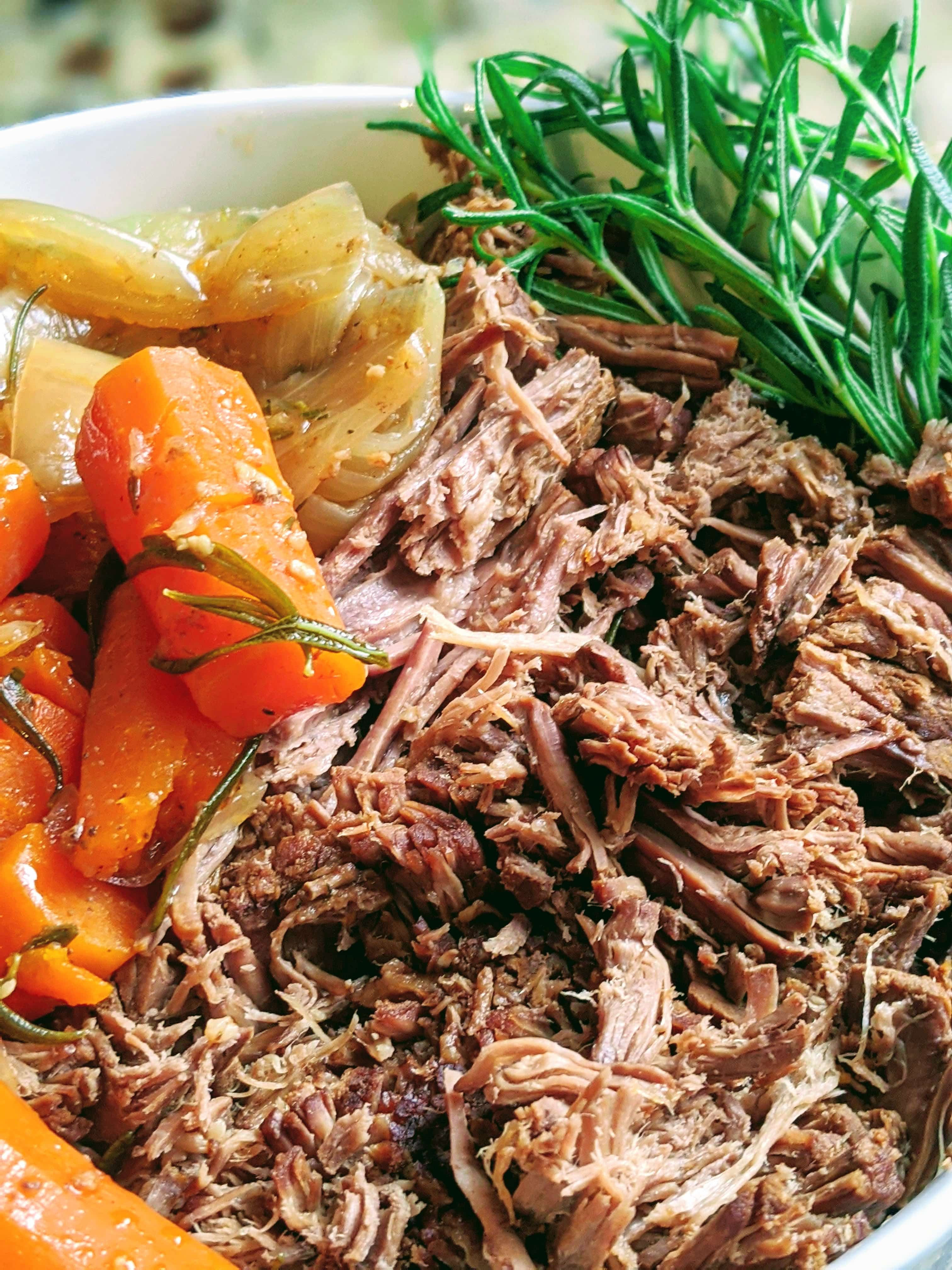 close up of shredded roast beef