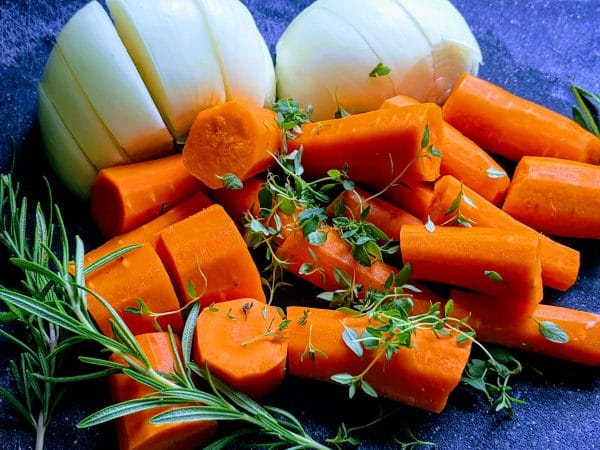 carrots and onions shopped with various spices